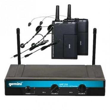 UHF216 HL MICRO INALAMBRICO GEMINI  DOBLE DIADEMA 16 CANALES UHF