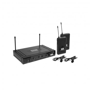 QBS2 MICRO INALAMBRICO UHF QP AUDIO DOBLE LAVALIER 16 FRECUENCIAS