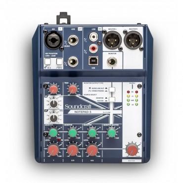 NOTEPAD5 MEZCLADOR SOUNDCRAFT 5 CANALES 1 MIC USB