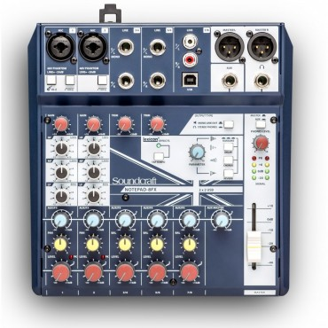 NOTEPAD 8FX MEZCLADOR SOUNDCRAFT 8 CANALES 2 MIC USB