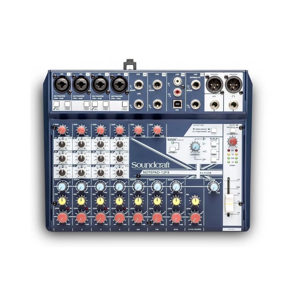 NOTEPAD 12FX MEZCLADOR SOUNDCRAFT 12CH 4 MIC USB