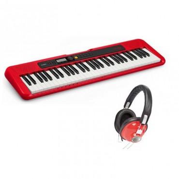 REF.644461 PACK TECLADO CASIO CTS200 RD+OQAN QHP20 COLOR ROJO 61 TECLAS TIPO PIANO